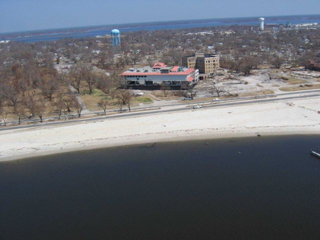 Smaller of two barges from Biloxi Grand Hotel aground across Highway 90 Picture