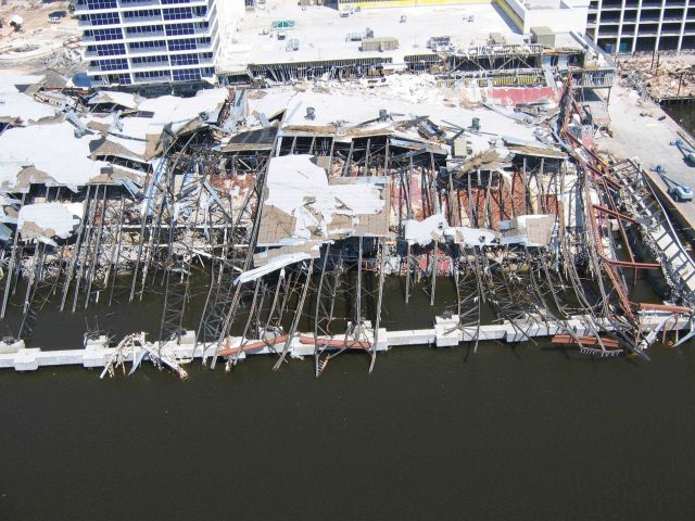 Hard Rock Casino barge completely destroyed. Picture