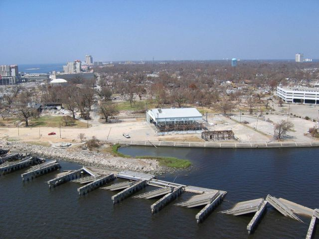 Ruins of Hwy 90 bridge in foreground Picture