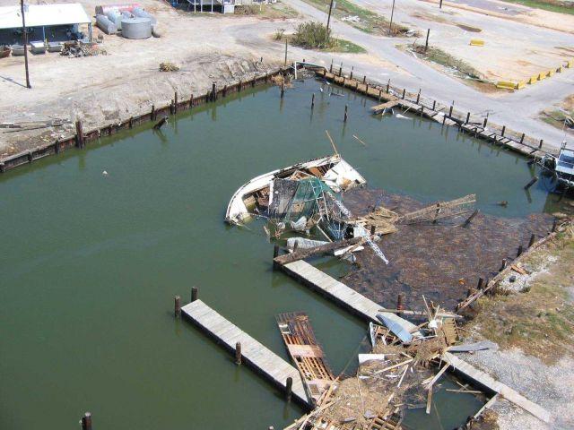 Sunken fishing boat. Picture