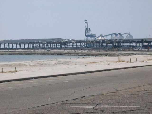 Gutted warehouses at Gulfport port facility. Picture