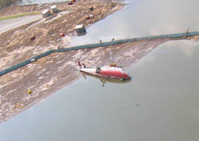 Helicopter - a victim of Hurricane Katrina. Picture