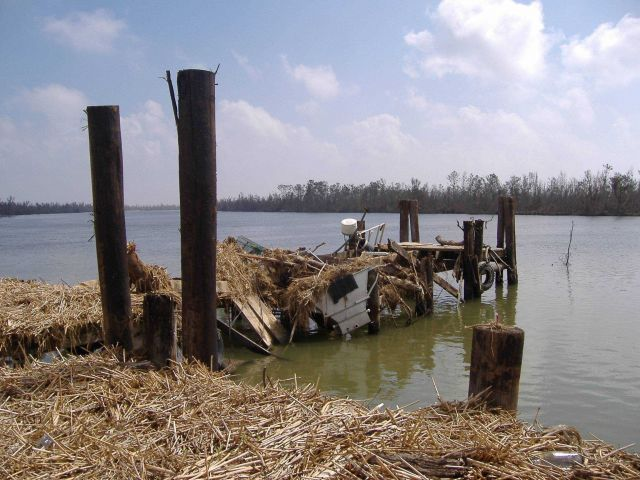 Unusable pier following Katrina. Picture
