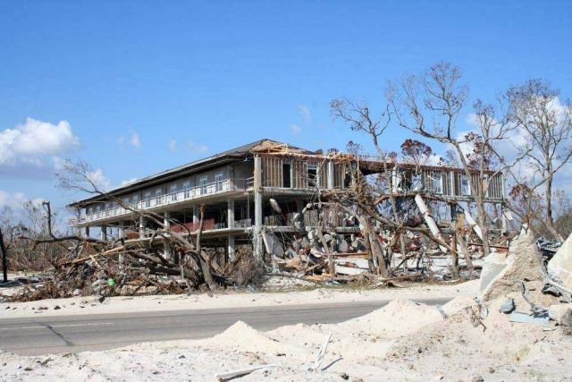 Remains of a hotel following passage of Hurricane Katrina. Picture