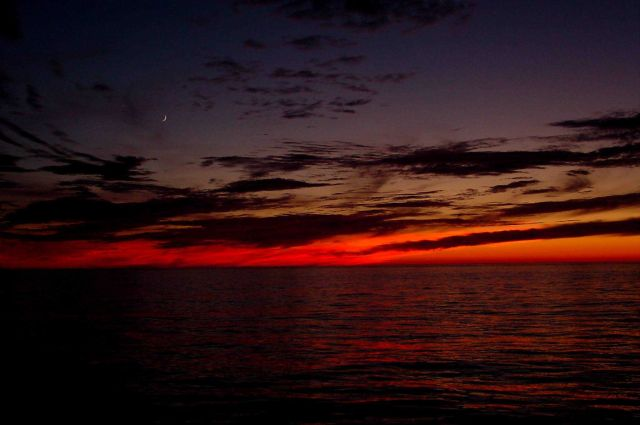 Wow! A crescent moon, Venus, and a scarlet sunset. Picture