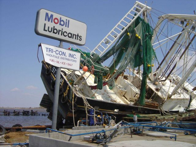 Shrimp boat on fuel dock following Hurricane Rita. Picture