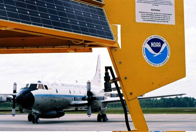 3-Meter display buoy with Hurricane Hunter aircraft. Picture