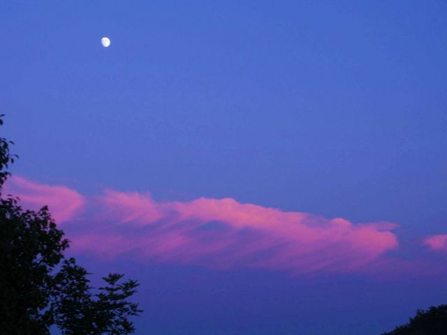 Rising moon at sunset at Waysons Corner on the Patuxent River. Picture
