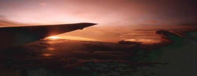 Right wing of NASA DC-8 at sunrise Picture