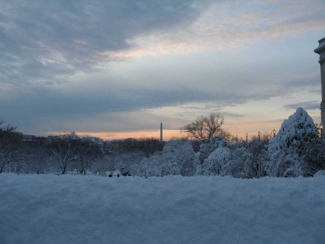 The Washington Monument seen at twilight from a vantage point in the Capitol Hill area Picture