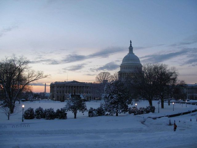 The Capitol Building with the Washington Monument seen on the left. Picture