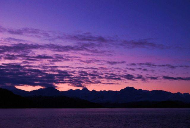 Setting sun in Glacier Bay Picture