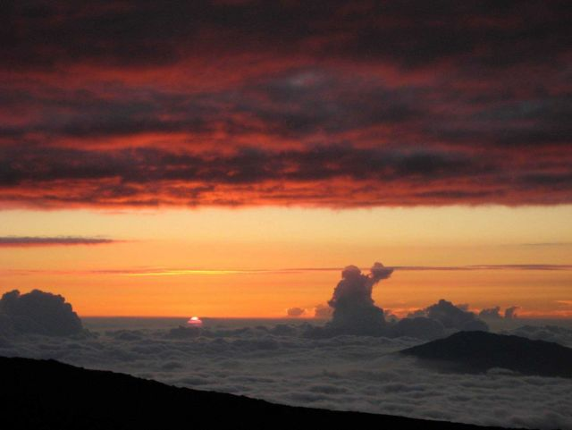 Looking NW from the Mauna Loa atmospheric observatory at sunset. Picture