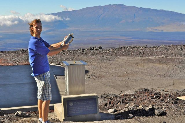 Adrian Colton at the Mauna Loa Observatory shows how early flask samples were filled at the site Picture