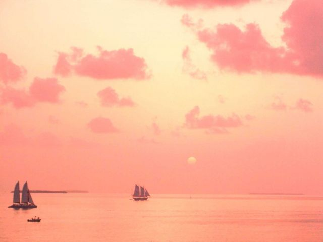 Sunset over the Gulf of Mexico - red sails in the sunset Picture