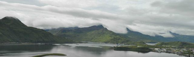Clouds filling mountain valleys above Dutch Harbor. Picture