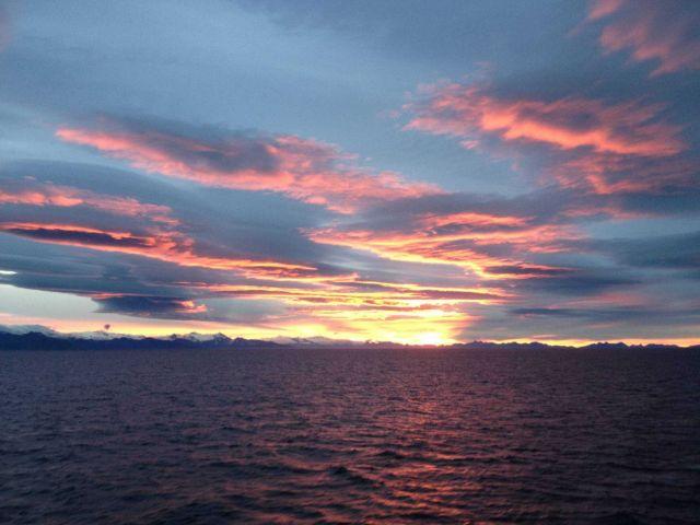 Sunset over Alaska Peninsula. Picture