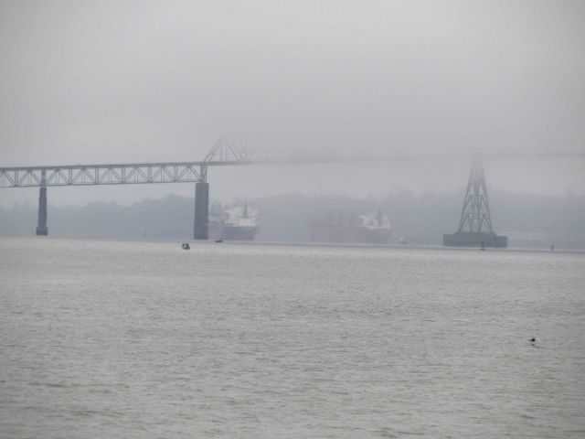 The bridge over the Columbia River on a foggy morning. Picture