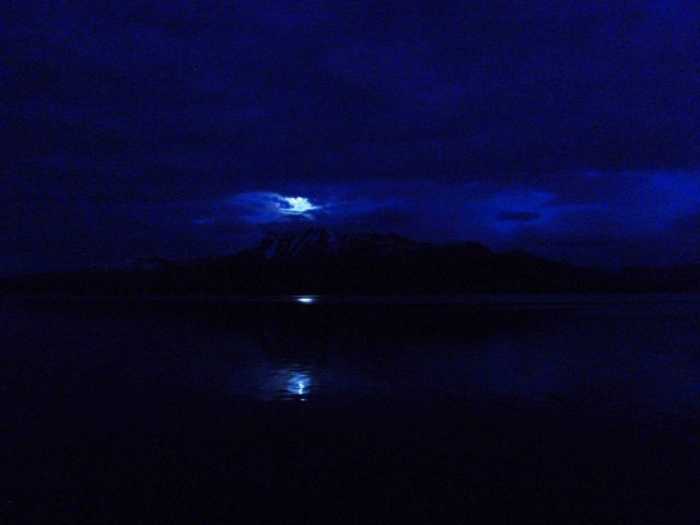 Moonbeams reflecting on the water. Picture