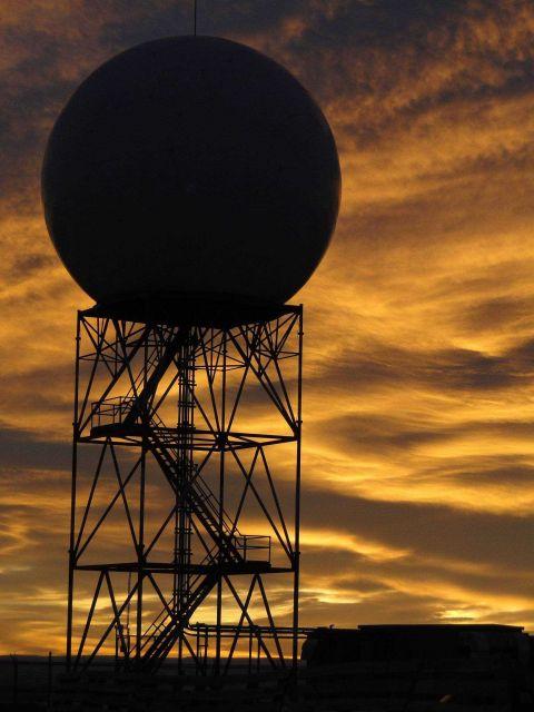 KRIW Riverton, Wyoming, weather radar at sunset. Picture