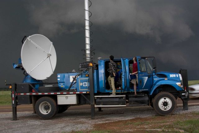 A Doppler on Wheels radar tracks an intense supercell thunderstorm west of Guthrie. Picture