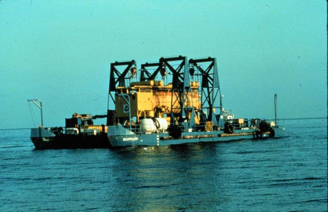 AQUARIUS aboard transport barge on its way to St Picture
