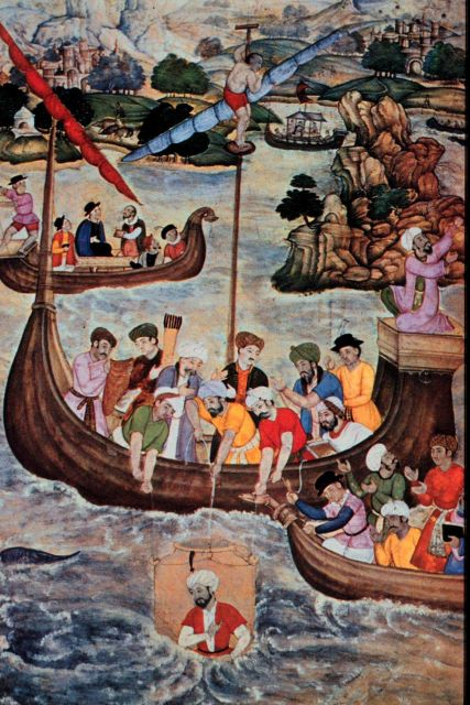 16th century painting of Alexander the Great, lowered in a glass diving bell. Picture