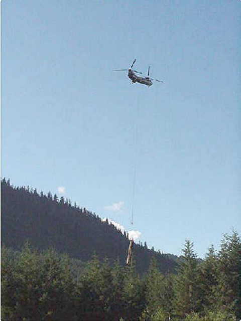 A Boeing Verto 107 helicopter was used to lift logs into place in the stream. Picture