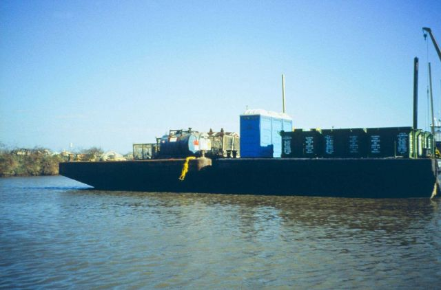 Dixon Bay, the barge that was used to decontaminate and collect oiled materials. Picture