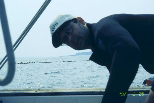 John Catena hands a tray of eelgrass turf over the side of the boat to the scientists in the water. Picture