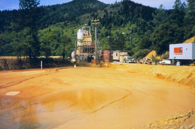 An acid mine drainage (AMD) treatment plant at Iron Mountain Mine, sludge containment. Picture