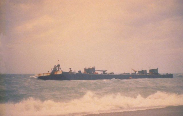 North Cape Barge, grounded on Moonstone Beach, South Kingstown, RI 1996 Picture
