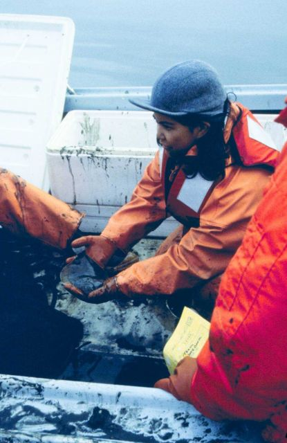 Tracey Collier and a NMFS team of scientists were on site to collect samples to test for oil contamination of sediments and in marine organisms. Picture