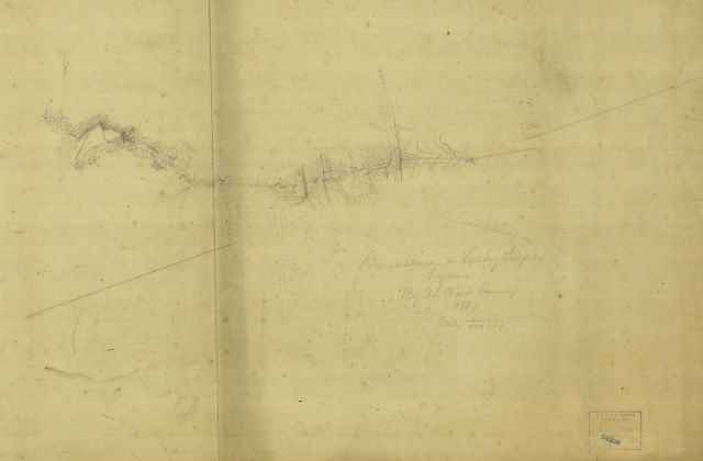 Pencil sketch of a reconnaissance of the Leesburg Pike Picture