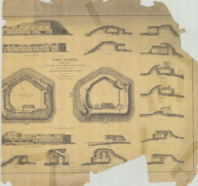 Drawings of Fort Sumter South Carolina at the time of its capture February 18th 1865 Picture