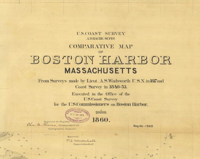 Title block to Comparative Map of Boston Harbor, Massachusetts. Picture