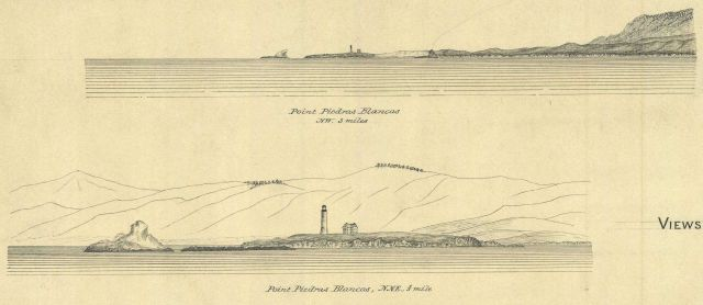 Coastal views of Point Piedras Blancas to the NW 3 miles and to the NNE 1/3 mile Picture