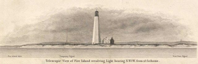 Coastal view of Fire Island Lighthouse from sea Picture