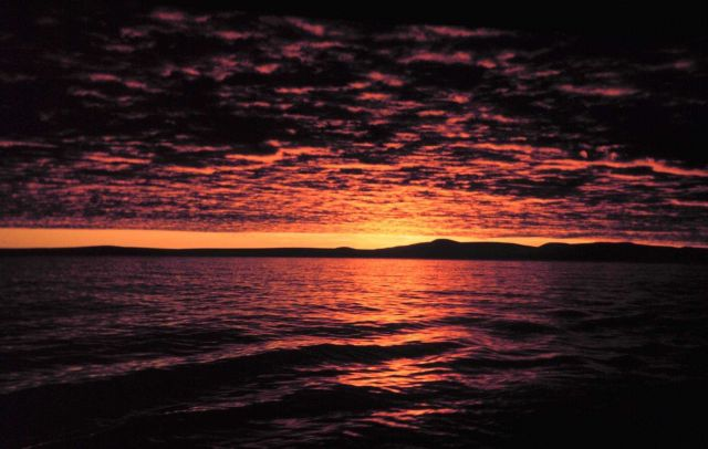 A Bering Sea sunset from the Bureau of Commercial Fisheries Ship BROWN BEAR. Picture