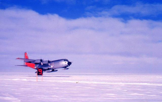 Ski-equipped C-130 taking off from the South Pole Picture