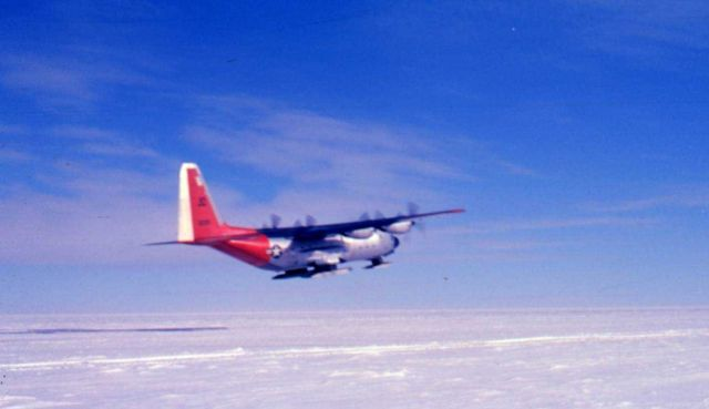 Ski-equipped C-130 on its way back to McMurdo Sound from the South Pole. Picture