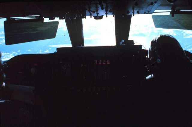 Cockpit of C-141 flying over approach to Antarctic continent Picture