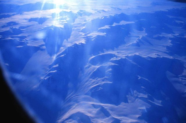Passing over coastal Antarctic mountains on the way to McMurdo Sound Station. Picture