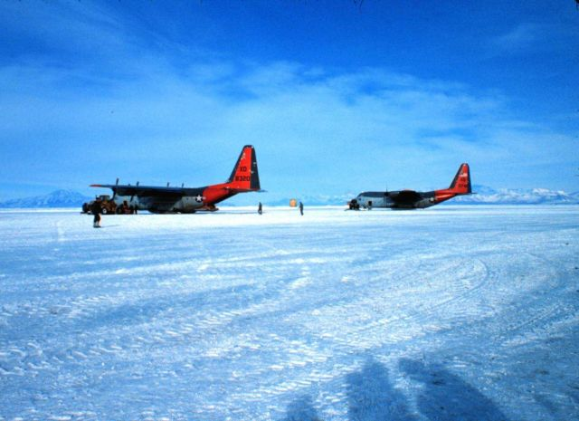 Ski-equipped C-130's ready for a trip to the South Pole Picture