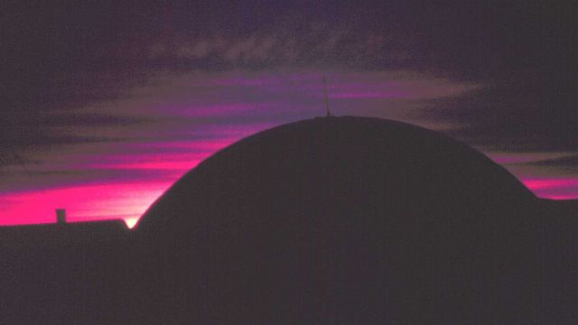 South Pole geodesic dome illuminated by last gasp of sunset Picture