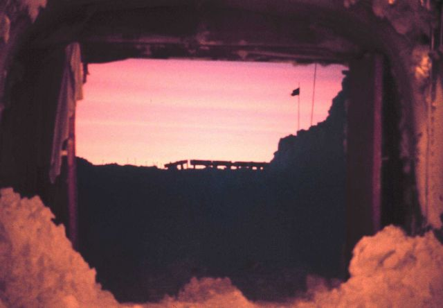 Antarctic sunrise as seen through the entrance tunnel Picture