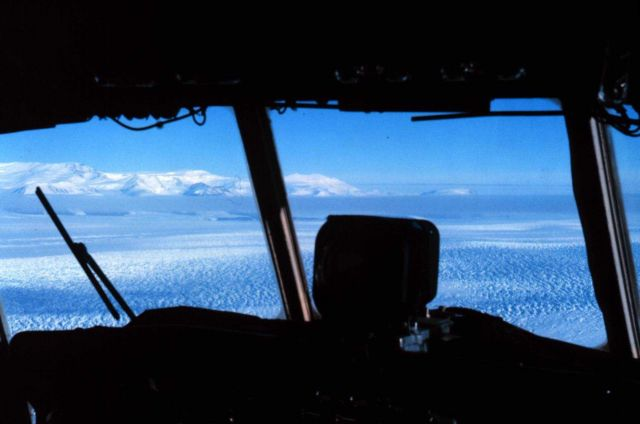 The view from the cockpit of the C-130 on the way to McMurdo Picture