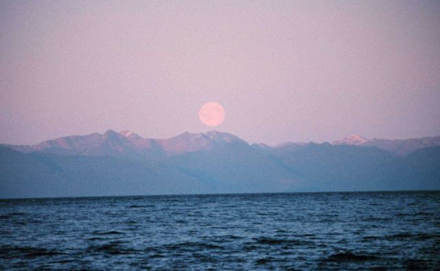 Moonrise in Chatham Strait. Picture