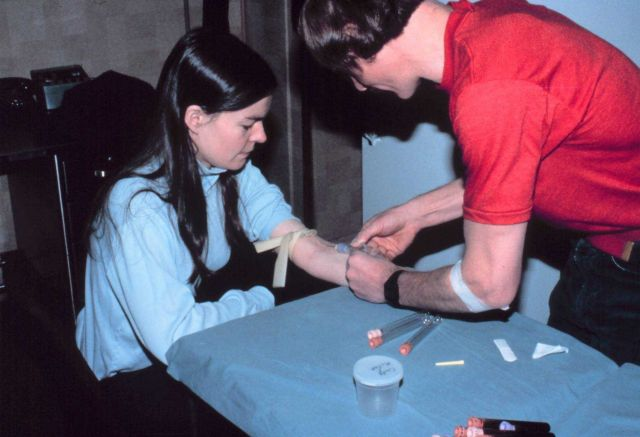 Lieutenant Cindy McFee having blood drawn as part of medical experiment. Picture