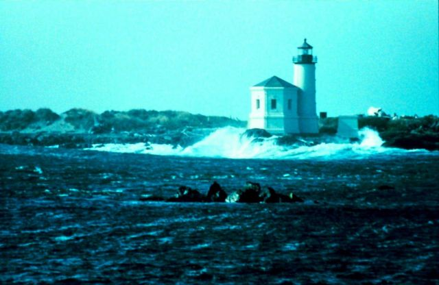 The lighthouse at Coquille River Entrance. Picture